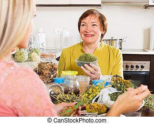 herbes, femmes, séché, deux