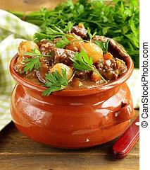 herbes, légumes, ragoût, boeuf