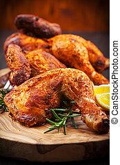 herbes, poulet, cuit