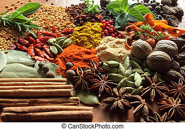 herbes, spices.
