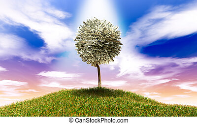 herbeux, argent, notes, arbre, dollar, américain, stylisé, colline