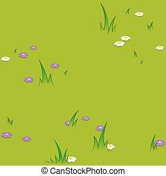 herbeux, modèle, seamless, champ, fleurs, dessin animé