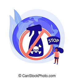 Herbicide ban abstract concept vector illustration. Stop herbicide use, reduce harmful agrochemicals, organic farming, green agricultural practice, insecticide and pesticide ban abstract metaphor.