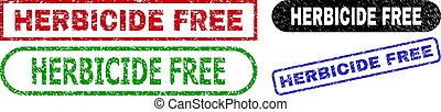 HERBICIDE FREE grunge watermarks. Flat vector grunge seal stamps with HERBICIDE FREE tag inside different rectangle and rounded forms, in blue, red, green, black color versions.