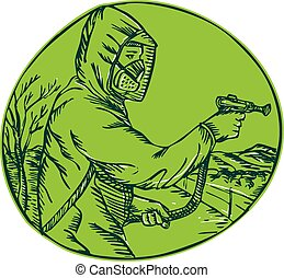 Etching edging handmade style illustration of herbicide pesticide control exterminator spraying viewed from side set inside circle on isolated background.