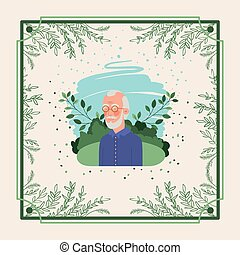 herbier, cadre, vieux, carte, homme