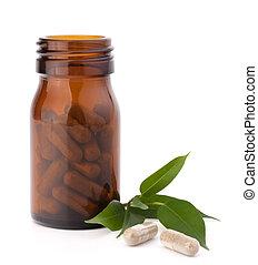 herbier, drogue, capsules, dans, brun, bouteille verre, isolé, blanc, fond, cutout., médecine alternative, concept.