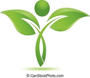 herbier, logo, naturel, pousse feuilles, vert