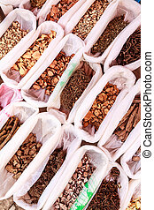 herbier, sec, nourriture, ingrédients