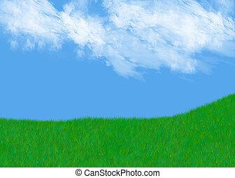 herboso, colina