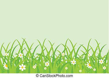 herboso, field., vector, ilustración
