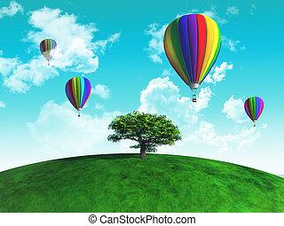 herboso, globo, árbol, aire, caliente, globos