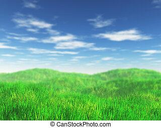 herboso, paisaje, 3d