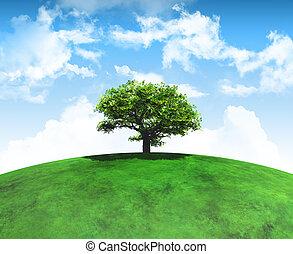 herboso, render, árbol, curvo, paisaje, 3d
