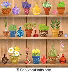 herbs and flowers planted in cute ceramic pots for sale on wood