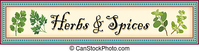 Banner for herbs and spices, Cilantro (Coriander), Flat Leaf Parsley, Italian Oregano and Sweet Marjoram with mosaic tile frame.