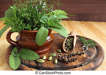 Herbs and spices - Bunch of fresh aromatic herbs in a...