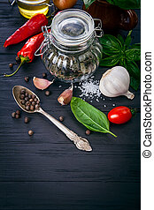 Herbs and spices ingredient for italian food cooking