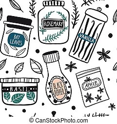 Herbs and spices jars seamless pattern
