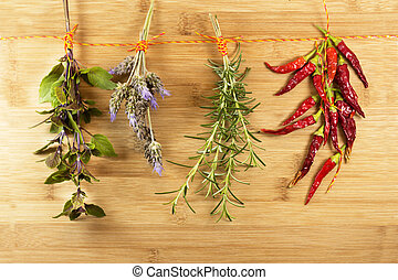Herbs hanging on to dry