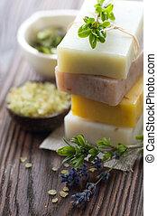 herbs., hechaa mano, natural, jabón, balneario