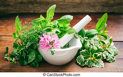 Herbs in a mortar on wooden background