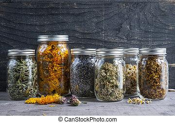 Herbs in jars