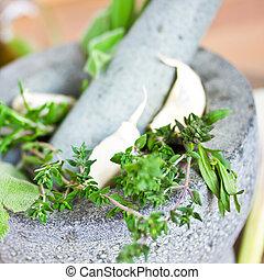 herbs in mortar