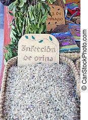 Herbs in wicker baskets