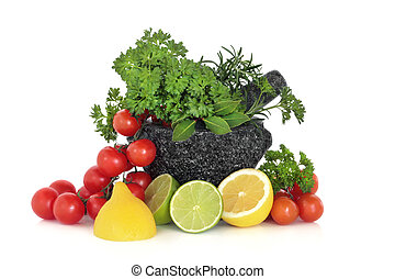 Herbs Leaves, Fruit and Tomatoes