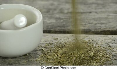 Herbs of Provence - Herbs of Provenc falling on a plank