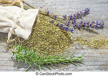 Herbs of Provence, lavender and rosemary