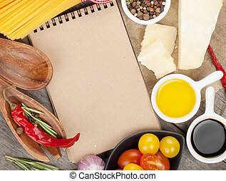 Herbs, spices and seasoning on wooden table background with ...