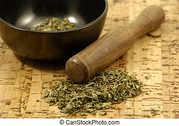 Herbs - Mortar and Pestle With Herbs