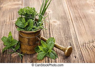 Herbs with antique mortar