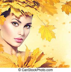 herbst, frau, mit, gelb verläßt, haar- art