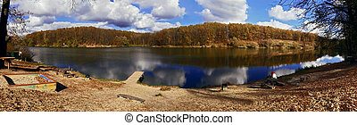 herbst, panorama, see wald
