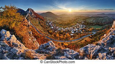 herbst, panorama, slowakei, landschaftsbild, sonnenaufgang