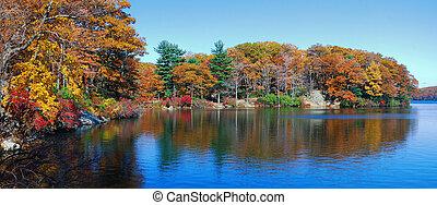 herbst, panorama, wälder, see