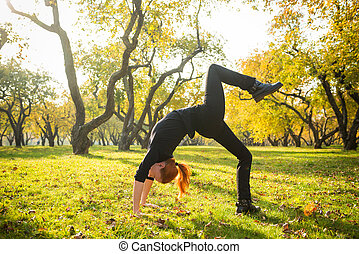 herbst, park, frau, joga