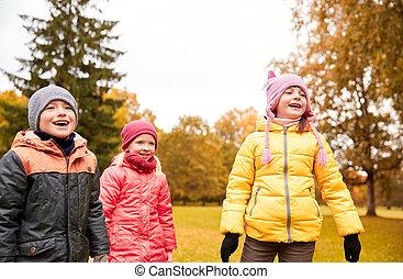 Herbst,  Park, Gruppe, Kinder, glücklich