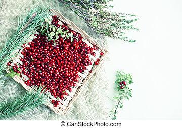 herbst, roh, beeren, tisch, lingonberry