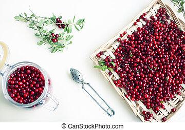 herbst, tisch, roh, lingonberry, beeren