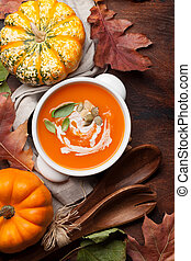 herbst, vegetarier, kã¼rbis, creme suppe