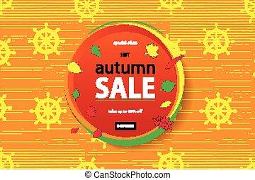 Herbst, flieger, lettering., verkauf, schablone. Eps10, schablone ...