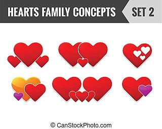 herce, rodina, concepts., dát, 2., vektor, illustration.