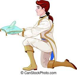 herceg, ajándékoz, egy, pohár, papucs