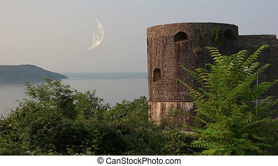 Herceg Novi, moon - Herceg Novi, Kanli tower, moon, compose