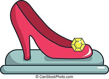 hercegnő, cipő, ikon, karikatúra, mód