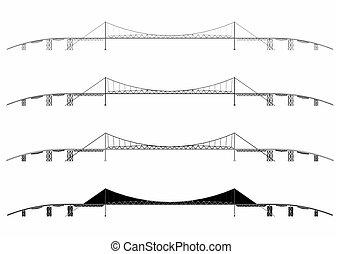 Hercilio Luz Bridge simple skyline. Vector art.